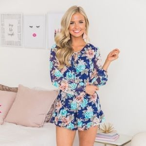 It's Bound To Be Love Navy Floral Romper